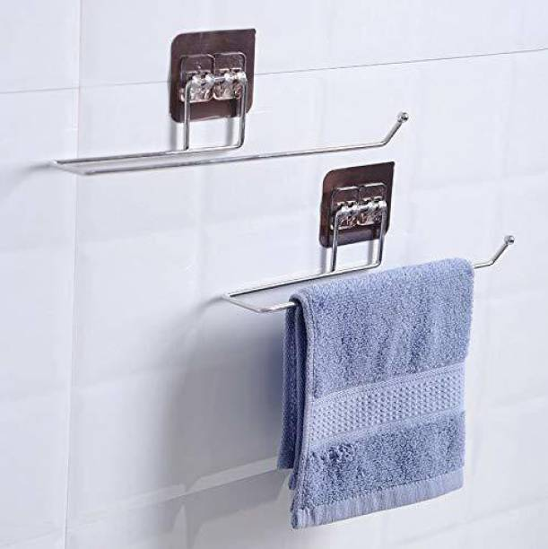 Diniva Stainless Steel Self Adhesive Wall Mount Towel Bar for Kitchen Stainless Steel Toilet Paper Holder