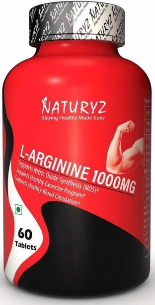 NATURYZ L-Arginine-1000mg (Pre-workout tablets), Essential Amino Acid, 60 Tablets