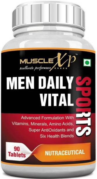 MUSCLEXp MultiVitamin Men Daily Sports with 47 Nutrients (6 Health Blends & Amino Acids)