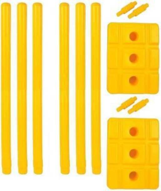Simran Sports Plastic Cricket Stumps Set - 6 Stumps + 4 Bails + 2 Base Stand (Yellow)