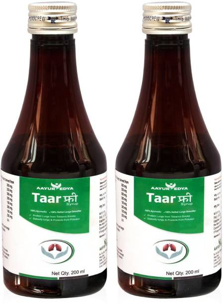 aayurvedya Taar Free Syrup (Set of 2) 200 ml Each - Lungs Detoxifier, Reduce Chronic Cough, Improves Breathing Capacity & Removes Deposited Toxins from Lungs Naturally