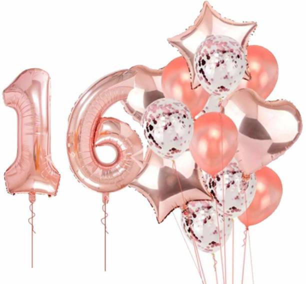 PopTheParty Printed Rose Gold 16 Balloon For 16th Birthday -Large Pack of 16 | Rose Gold Confetti Star and Heart Foil Balloon Bouquet For Party Decoration | Great For 16th Birthday Party Decoration Suplies Letter Balloon