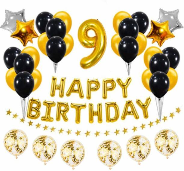 PopTheParty Solid Golden and Black 9th Birthday Party Decorations Set- Gold Happy Birthday Banner,Foil Number Balloons, Latex Balloons and More for 9 Years Old Brithday Party Supplies Balloon