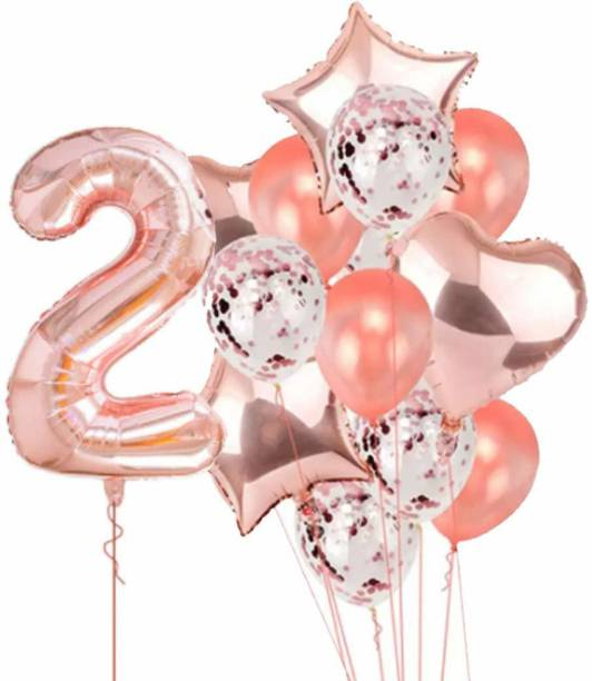 PopTheParty Printed Rose Gold 2 Balloon For second Birthday -Large Pack of 15 | Rose Gold Confetti Star and Heart Foil Balloon Bouquet For Party Decoration | Great For 2nd Birthday Party Decoration Suplies Letter Balloon