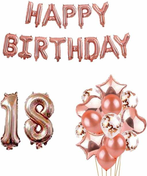 PopTheParty Solid 18th Birthday Party Decorations Rose Gold Supplies Big Set With Happy Birthday Balloons Banner and 18 Digit Balloon for Including Latex, star, heart and Confetti Balloons Balloon