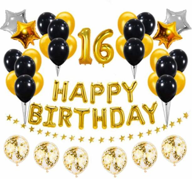 PopTheParty Solid Golden and Black 16th Birthday Party Decorations Set- Gold Happy Birthday Banner,Foil Number Balloons, Latex Balloons and More for 16 Years Old Brithday Party Supplies Balloon
