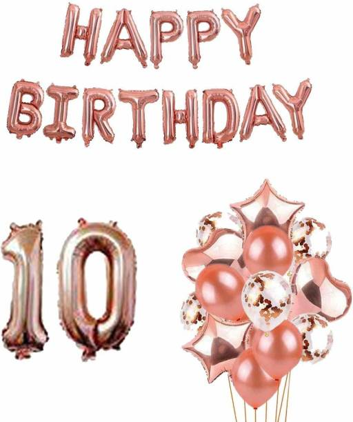 PopTheParty Solid 10th Birthday Party Decorations Rose Gold Supplies Big Set With Happy Birthday Balloons Banner and 10 Digit Balloon for Including Latex, star, heart and Confetti Balloons Balloon