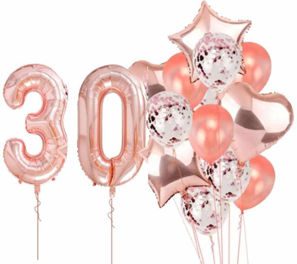 PopTheParty Printed Rose Gold 30 Balloon For 30th Birthday -Large Pack of 16 | Rose Gold Confetti Star and Heart Foil Balloon Bouquet For Party Decoration | Great For 30th Birthday Party Decoration Suplies Letter Balloon