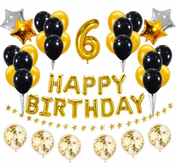 PopTheParty Solid Golden and Black 6th Birthday Party Decorations Set- Gold Happy Birthday Banner,Foil Number Balloons, Latex Balloons and More for 6 Years Old Brithday Party Supplies Balloon