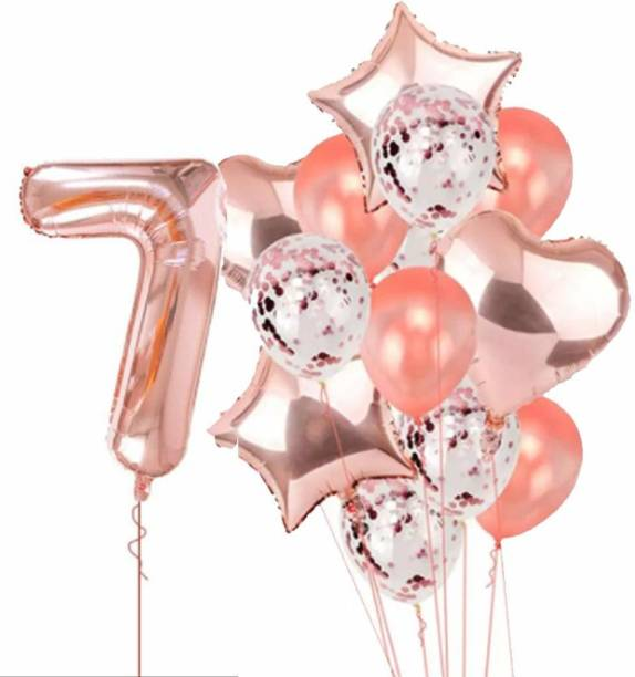 PopTheParty Printed Rose Gold 7 Balloon For 7th Birthday -Large Pack of 15 | Rose Gold Confetti Star and Heart Foil Balloon Bouquet For Party Decoration | Great For 7th Birthday Party Decoration Suplies Letter Balloon