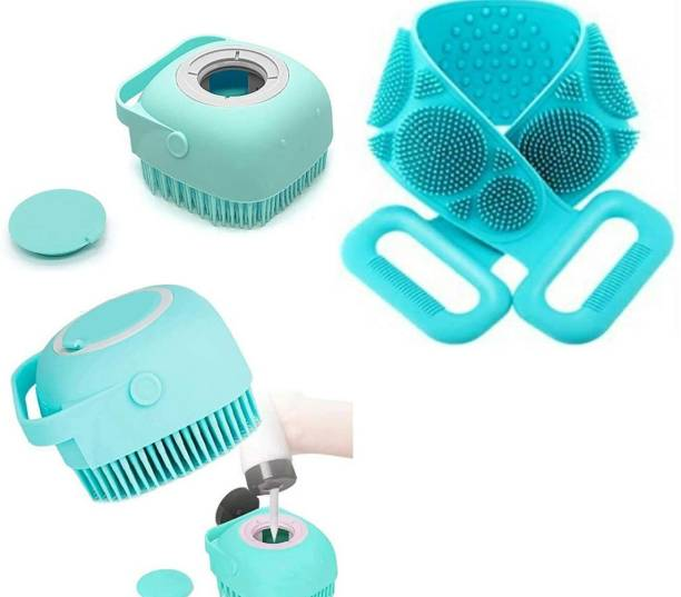 T TOPLINE 2 in 1 Bath Combo of Silicone Body Back Scrubber, Bathing Brush for Women, Dead Skin Removal Exfoliating Belt for Shower & Body Brush with Shampoo dispenser