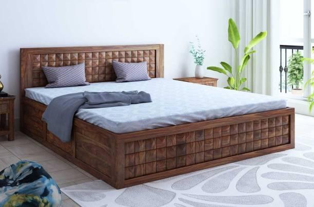 Springtek Dreamer Pure Sheesham Wood King Size Storage Bed, Teak Color - 78 x 72 inches Solid Wood King Drawer Bed