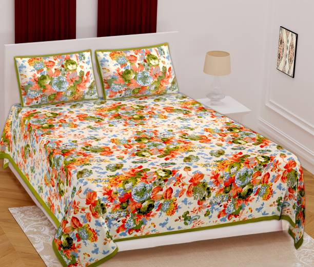 BOMBAY SPEED 350 TC Cotton Double King Floral Bedsheet