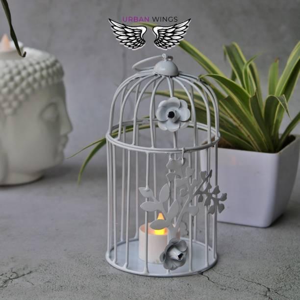 Urban Wings white metal bird cage Iron 2 - Cup Tealight Holder