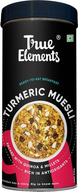 True Elements Turmeric Muesli, Ready to eat Breakfast | Packed with Quinoa & Millets | Rich in Antioxidants
