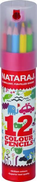 NATARAJ 12 F/s Colour Pencils Tin Hexagonal Shaped Color Pencils