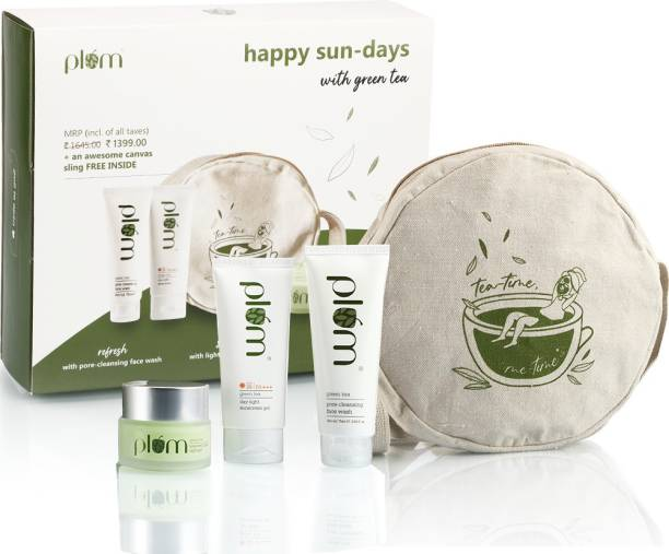 Plum Happy Sun-Days with Green Tea | For Oily & Acne-Prone Skin | Paraben Free | 100% Vegan | Sun Protect Skincare Kit
