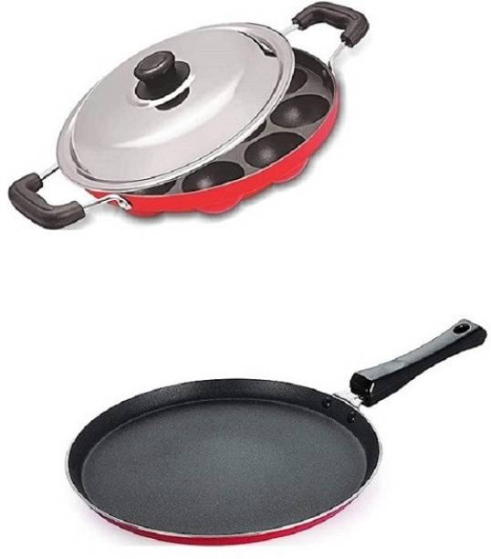 vijee Combo 2 Pcs Set of Crispy Dosa Tawa & Appam pan,Paniarakkal Pan,Paddu Maker,Ponganal Maker,paniyaram Pan, Cookware Set Cookware Set