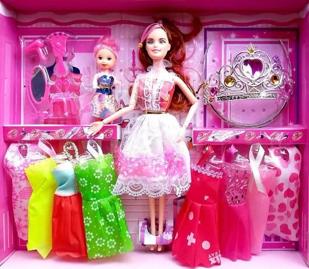 mayank & company Elegant doll with baby ,dress & makeup kit