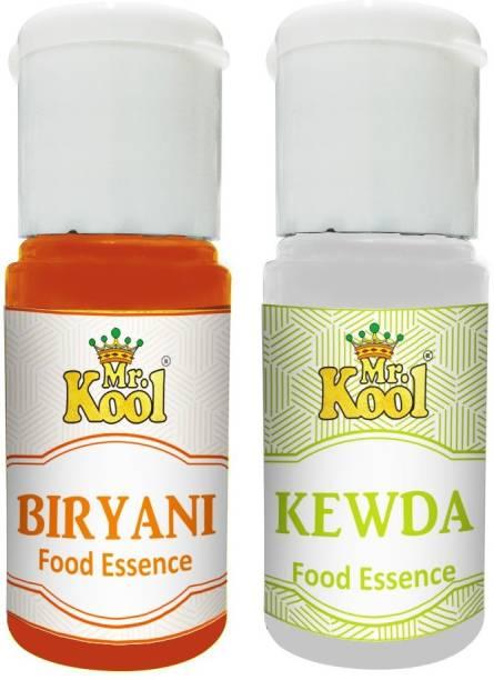 Mr.Kool Food Essence Biryani, Kewda Flavors 20ml Each Combo Pack Of 2 Essence for Cake, Cookies, Ice Cream, Sweets (40ml) Biriyani Masala Liquid Food Essence