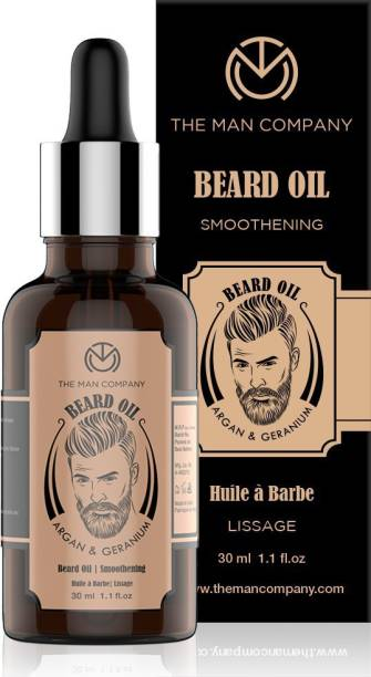 THE MAN COMPANY 100% Natural Smoothening Beard Oil -Argan & Geranium Hair Oil