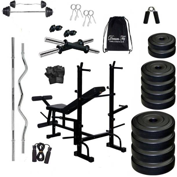 DreamFit 50 kg home gym with 8 IN 1 bench and 4 RODS And Accessories Home Gym Combo