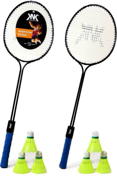 KNK Double Shaft Single Colour Set Of 2 Piece Badminton Racket With 6 Piece Plastic Shuttle Badminton Kit