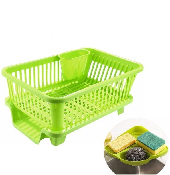 BONIRY Combo Kitchen Sink Organiser & 3 in 1 Kitchen Sink Dish Rack Drainer Drying Rack Washing Basket with Tray for Kitchen, Dish Rack Organizers, Utensils Tools Cutlery (Pink) Dish Drainer Kitchen Rack (Plastic) Dish Drainer Kitchen Rack