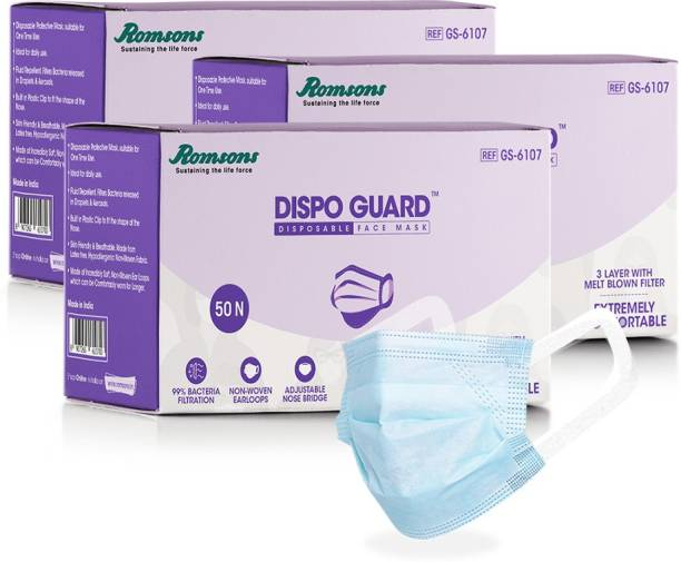 Romsons Dispo Guard 3 Ply Disposable Mask With Softest Non-Woven Fabric Ear Loops, 50Pcs/Pack (Pack of 3), 150 Pcs for Unisex - Without Valve, White Dispo Guard 3 Ply Mask With Softest Ear Loops Surgical Mask With Melt Blown Fabric Layer