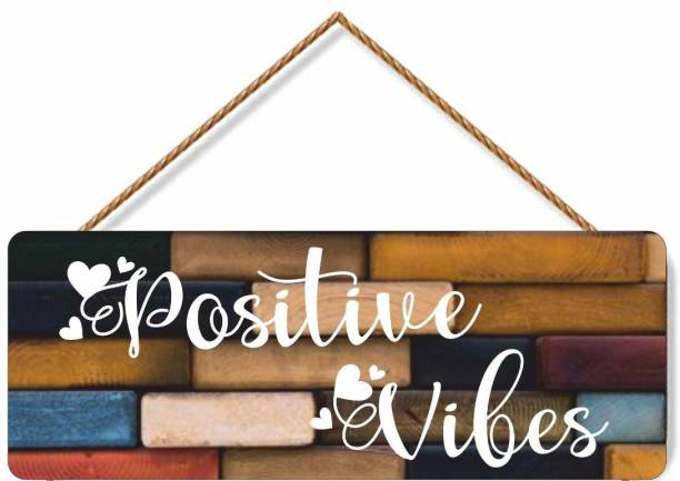 Click n Ship Wooden Postive Vibes Wall Name plate Name Plate