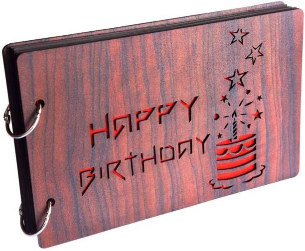 K K CREATIONS Wooden Happy Birthday Cake Scrapbook Album