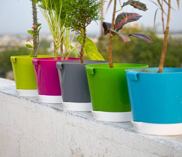 """Centureum 8"""" Multicolor Plant Pot With Saucer Set Of 5 Plant Container Set"""