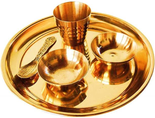 VADIK Lord krishna's Brass Pooja Bhog Thali/Plate Set Home Temple Decor Gold @11cm Brass
