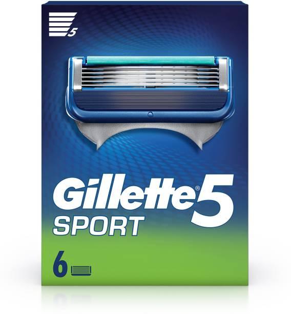 GILLETTE Sport 5-Blade No Slip Aquagrip Men's Pack of 6 Cartridges