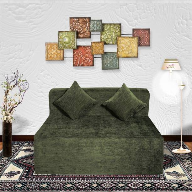 Seventh Heaven 4×6 Molfino Fabric 2 Seater Sofa cum Bed with 2 Cushions Double Sofa Bed