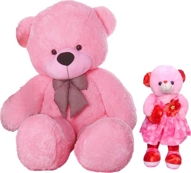 Macros 3 Feet Pink Mother Teddy Bear with free Baby doll specially designed for girls & Gift.  - 90 cm