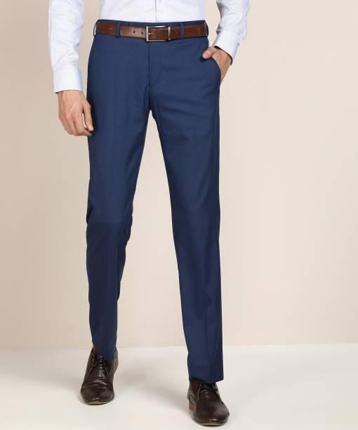 PARK AVENUE Regular Fit Men Dark Blue Trousers