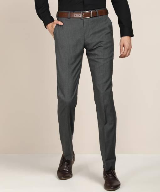 PARK AVENUE Regular Fit Men Grey Trousers