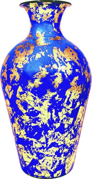 Micasa Vase Metallic for Home and Decor ( 12 inch ) Blue -Gold Foil Print Iron Vase
