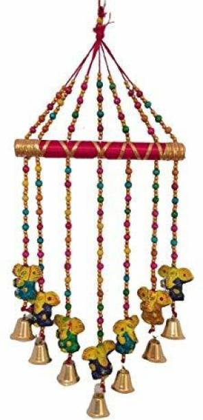 khushbu handicrafts Handmade wind Ganesh design chimes showpiece for home decor and wall decor Wood Windchime