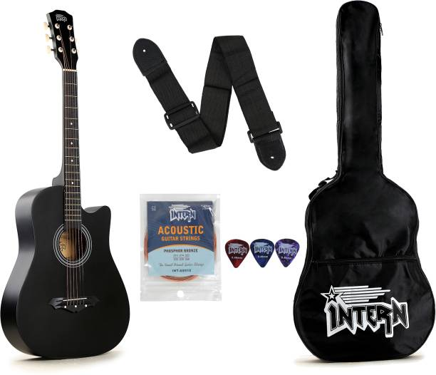 intern INT-38C-BK Acoustic Guitar Linden Wood Rosewood Right Hand Orientation
