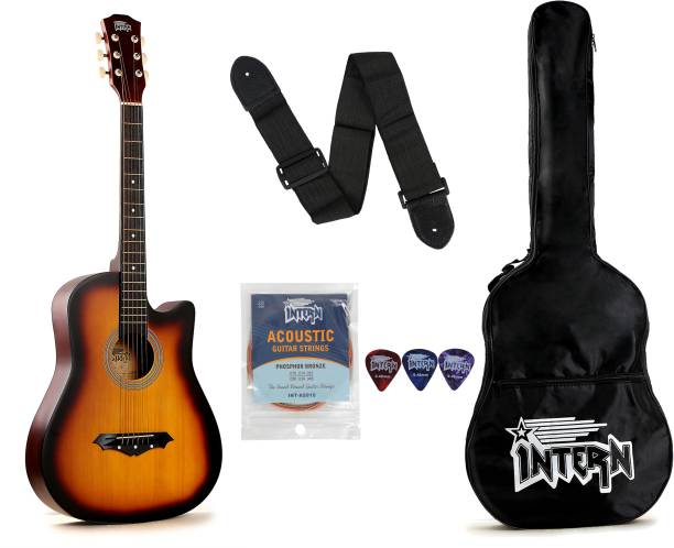 intern INT-38C-SB Acoustic Guitar Linden Wood Rosewood Right Hand Orientation