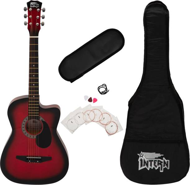intern INT-38C-RD-G Acoustic Guitar Linden Wood Linden Wood Right Hand Orientation