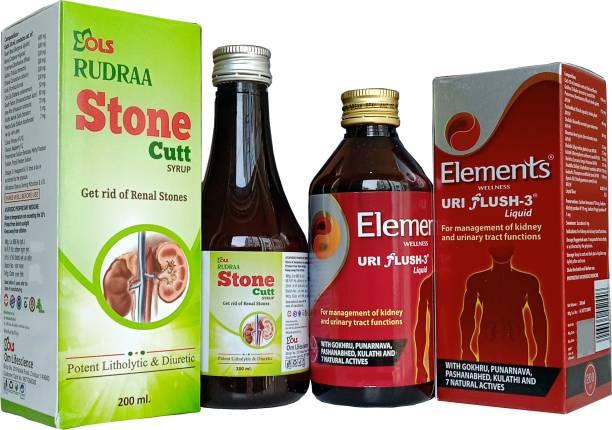 Rudraa Stone Cutt kidney stone ayurvedic medicine and ELEMENTS WELLNESS Uri Flush 3 Liquid
