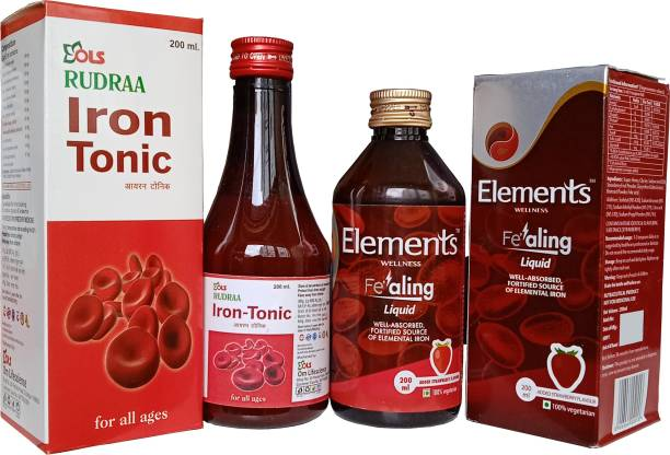 Rudraa Iron Tonic Syrup And Element wellness Fealing Liquid for Iron Deficiency (Anemia)