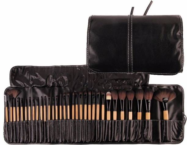 BELLA HARARO 32 Pcs Premium Wooden Make Up Brush Kit With PU Leather Roll on Case