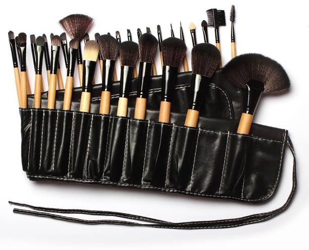 BELLA HARARO 32 Pcs Wooden Make Up Brush Kit With PU Leather Roll on Pouch