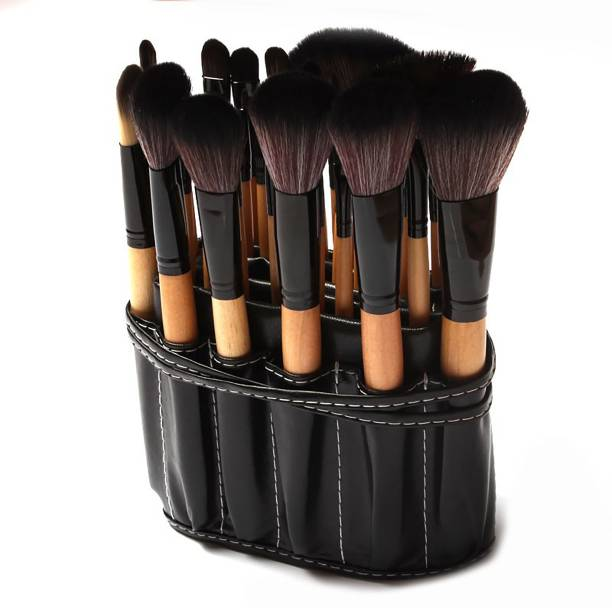 BELLA HARARO Professional 32 Pcs Wooden Make Up Brushes Set With PU Leather Roll on Pouch