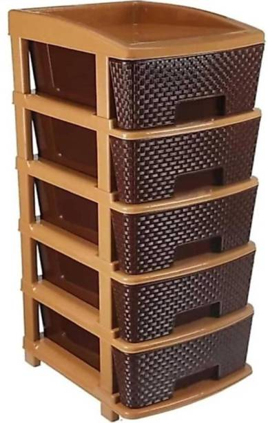 Mahadev Enterprise Plastic Free Standing Chest of Drawers (Finish Color - Brown) Plastic Free Standing Chest of Drawers