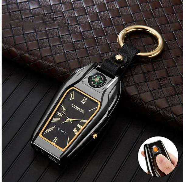 Abhsant Socket New Multi-function Outdoor Key chain USB Watch Survival Compass Cigarette Lighter with Light Electric Charging Lighter LED Lighting Keychain Pendant Pocket Watch Cigarette Lighter Car Cigarette Lighter